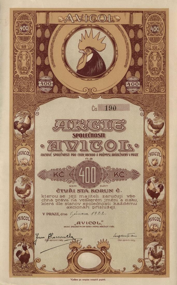 AVICOL, akciová společnost pro chov, obchod a průmysl drůbežnický v Praze (Avicol, Geflügelzucht-, Handel- und Industrie AG.). Akcie na 400 Kč. Praha, 1922.