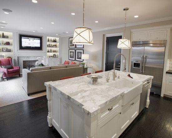 White Kitchen Open To Family Room 54 best kitchen den renovations images on pinterest | home decor
