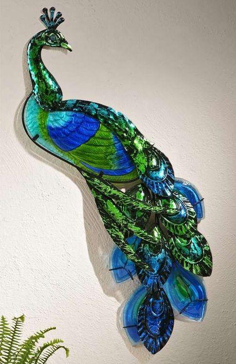 New TURQUOISE BLUE PEACOCK PLAQUE Garden Home Decor Sculpture Nature Accent  Art