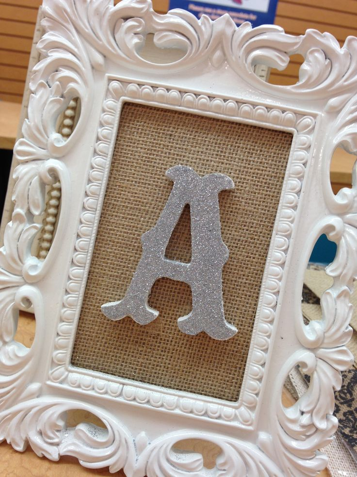 small wood letter painted white then glittered attach letter to burlap paper and you have an easy personalized gift made it today at the michaels