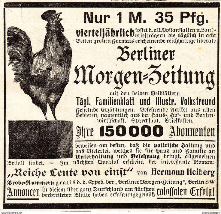 Werbung - Original-Werbung/ Anzeige 1901 - BERLINER MORGEN-ZEITUNG - MOTIV HAHN - ca. 80 x 80 mm