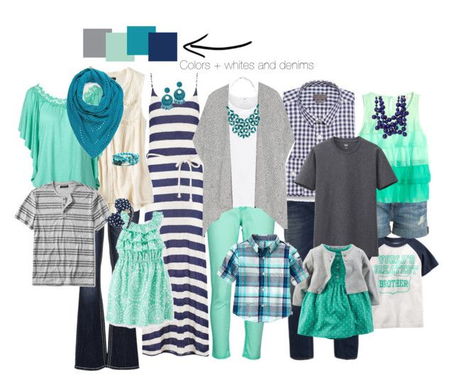 """Family photo set- grays/aqua/navy/turquoise"" by jamie-lovsky-staples-twaddell on Polyvore"