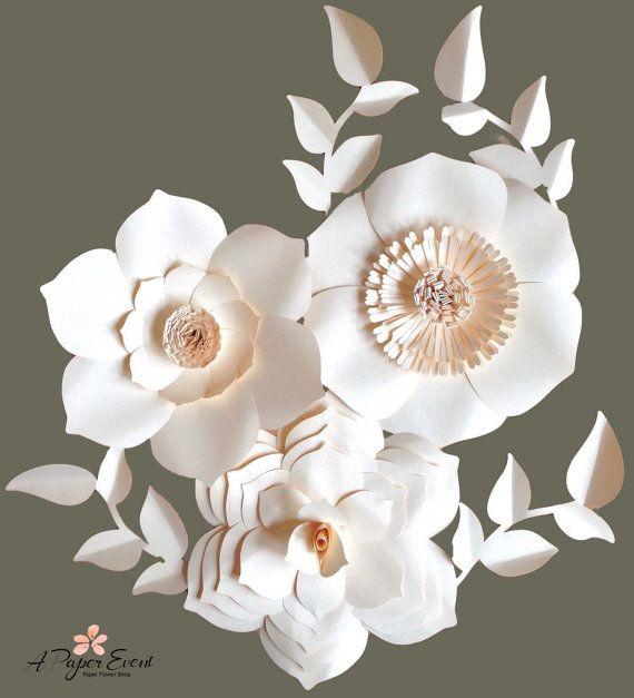 Fondo de flor de papel, flores de papel gigantes, pieza central Wedding, flor de papel