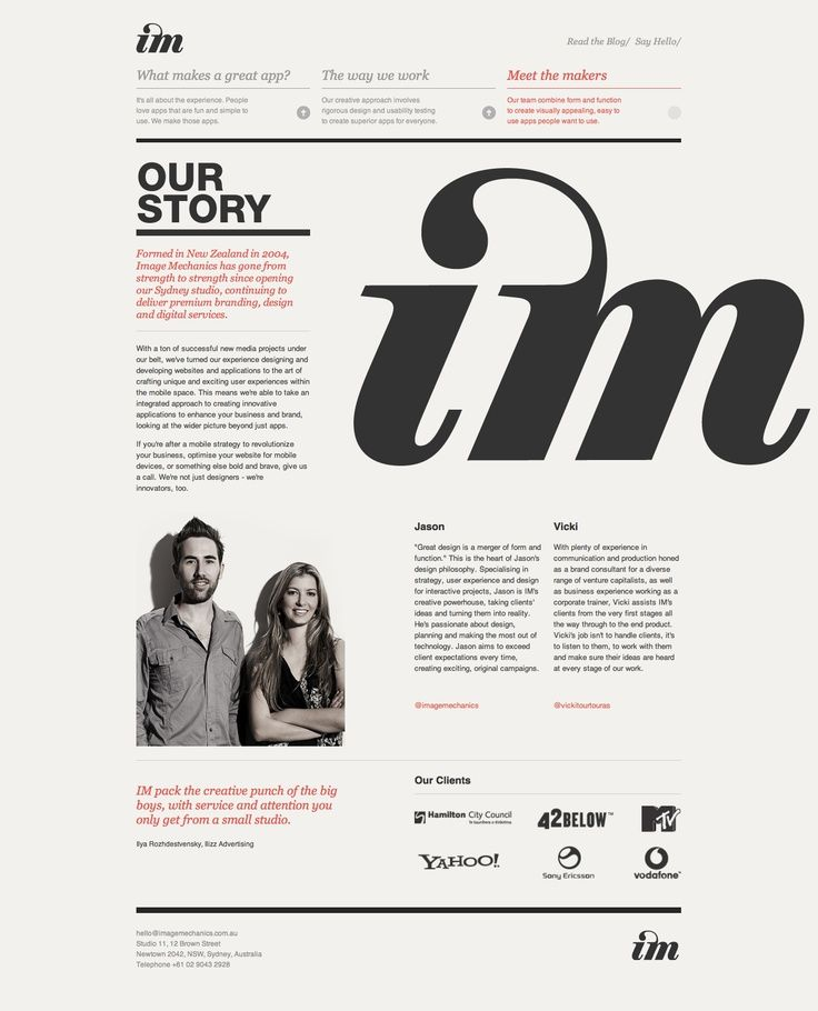Clean, Swiss-ish web layout with limited colors. Well designed typography and composition.