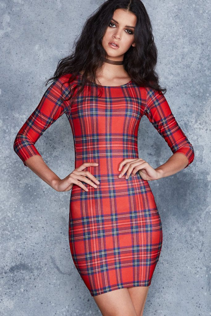 Tartan Red 3/4 Sleeve Toastie Dress - 48HR ($110AUD) by BlackMilk Clothing
