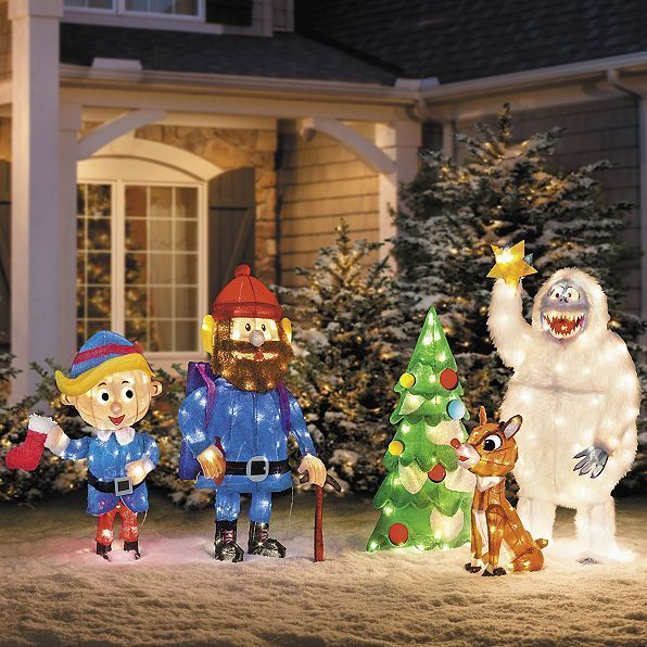 Lighted 5pc Set Rudolph The Red Nosed Reindeer Display Outdoor Christmas Decor Antique Christmas Tree Christmas Yard Decorations Outdoor Christmas Decorations