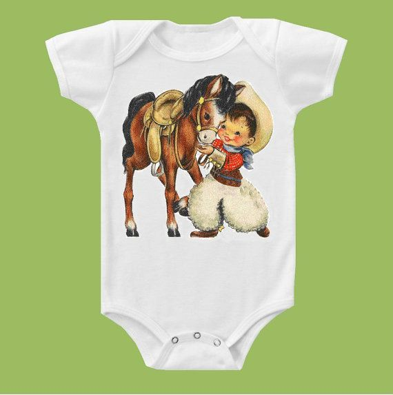 Vintage Cowboy and Pony One Piece Baby or T- Shirt by ChiTownBoutique.etsy via Etsy