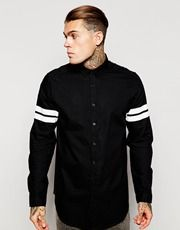 ASOS Longline Shirt With Stiped Long Sleeves