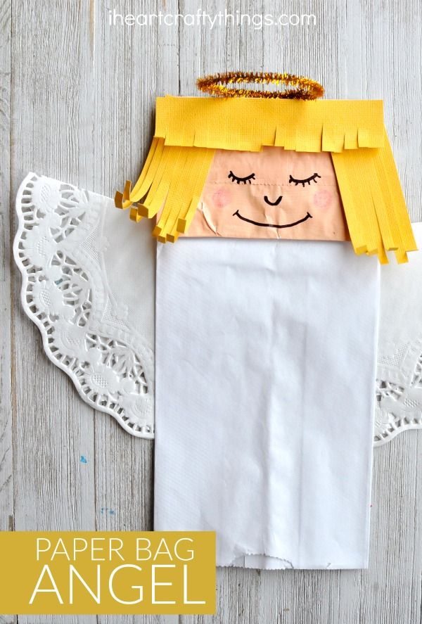 Pretty paper bag angel craft that is easy to make and is great for a Christmas Craft for kids and Kids Sunday School Christmas Craft.