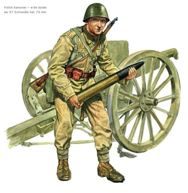 Esercito Polacco - Artigliere servente un pezzo Schneider 97 da 75 mm.