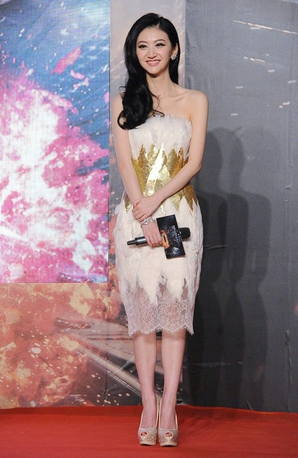 Fabulously Spotted: Jing Tian Wearing Georges Chakra Couture - 'Police Story 2013' Beijing Press Conference  - http://www.becauseiamfabulous.com/2013/11/jing-tian-wearing-georges-chakra-couture-police-story-2013-beijing-press-conference/