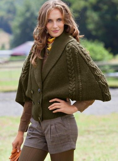 Knitting Pattern For Cape With Sleeves : Bergere de France Cat. 14/15 - n? 857 Cape with cable-knit sleeves Patterns ...