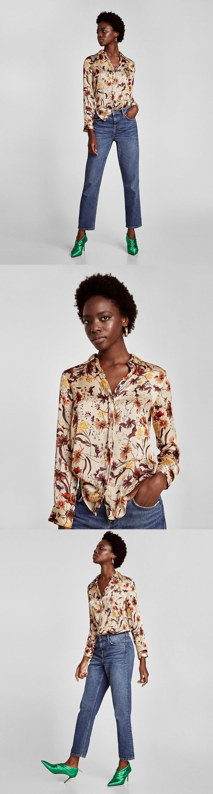 Printed Crepe Blouse // 39.90 USD // Zara // Flowing blouse with lapel collar, long cuffed sleeves and concealed button-up fastening in the front. HEIGHT OF MODEL: 178 cm. / 5′ 10″