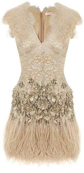 Matthew Williamson Gold Lacquer Lace Feathered Dress