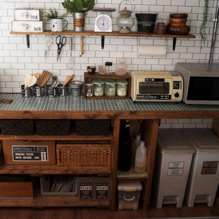 インダストリアル/男前/タイル風の壁紙/自作キッチンカウンター/DIY…などのインテリア実例 - 2016-04-29 11:31:25 | RoomClip(ルームクリップ)