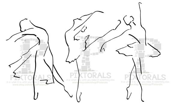 3 Ballet Dancers. Line Art EPS file Vector and jpeg by Pixtorals