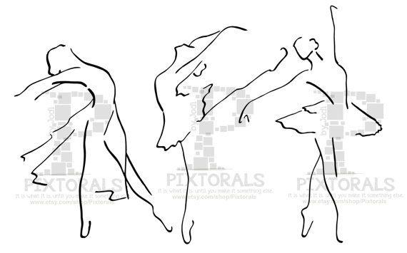 3 Ballet Dancers. Line Art EPS file Vector and jpeg by Pixtorals