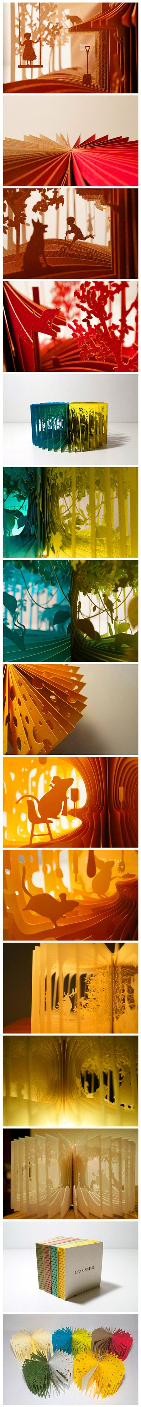 In order to express a single scene of a story in a three dimensional way, Japanese artist and architect Yusuke Oono created this imaginative series of 360 degree books. Using 40 pages, Oono assembles scenes from stories like The Jungle Book and Snow White with elaborate layers of silhouettes cut from paper.