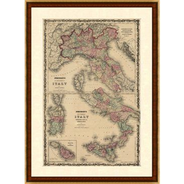 Check out this item at One Kings Lane! 1860s Map of Northern & Southern Italy