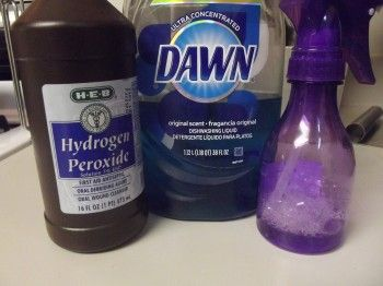 2 part hydrogen peroxide to 1 part Dawn (original blue) will take the stains out of almost ANYTHING...even if they're old stains! // Mix in a spray bottle and use as a stain remover spray- must try this!
