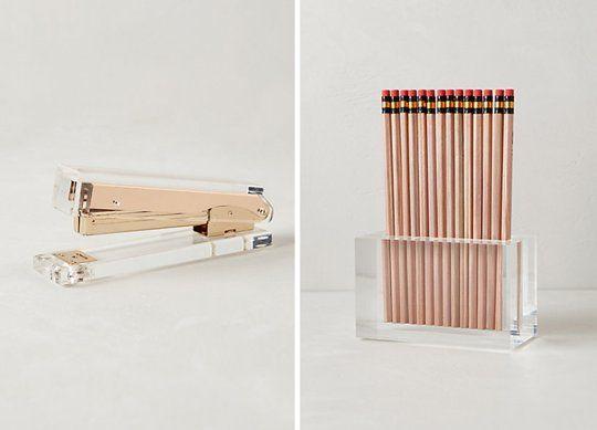 Acrylic Desk Accessories - So chic! #stapler #cubicle #studio