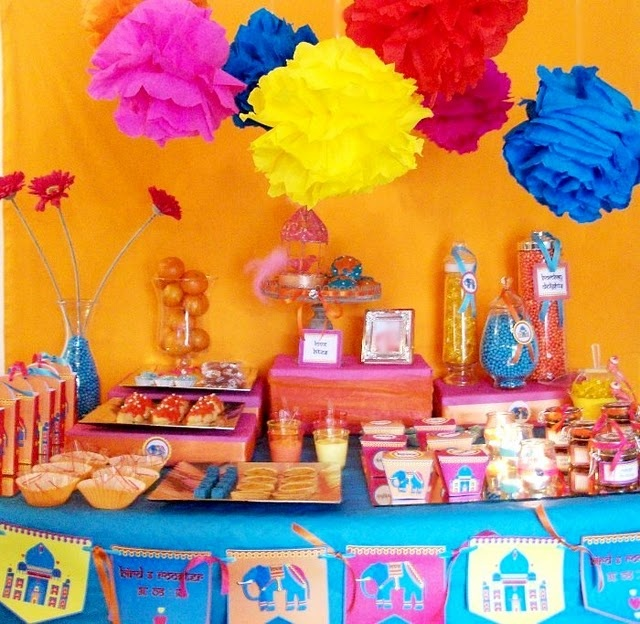 DIY ideas for your dessert display - tissue-wrapped boxes for food stands; glass jars filled with single coloured sweets; vibrant paper lanterns or paper flowers.