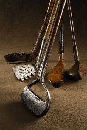 Vintage golf clubs.                                                                                                                                                                                 More