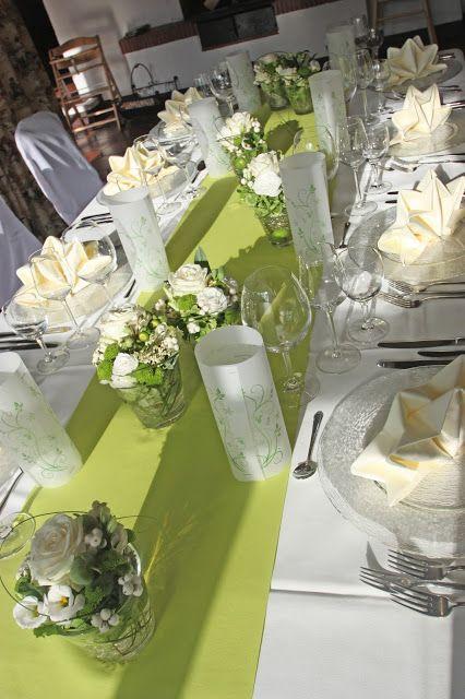 Hochzeitstisch in creme und grün im Seehaus am Riessersee