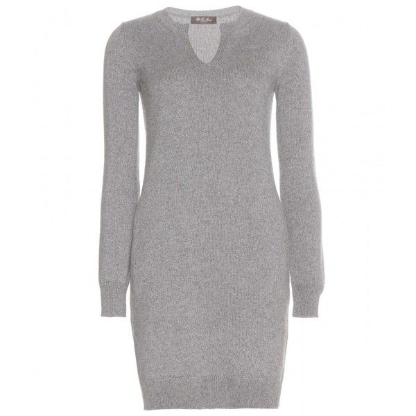 Loro Piana Winterland Cashmere Sweater Dress ($1,890) ❤ liked on Polyvore featuring dresses, grey, grey sweater dress, grey dress, loro piana, cashmere dress and gray dress