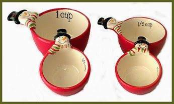 Ceramic Christmas Holiday Snowman Measuring Cups