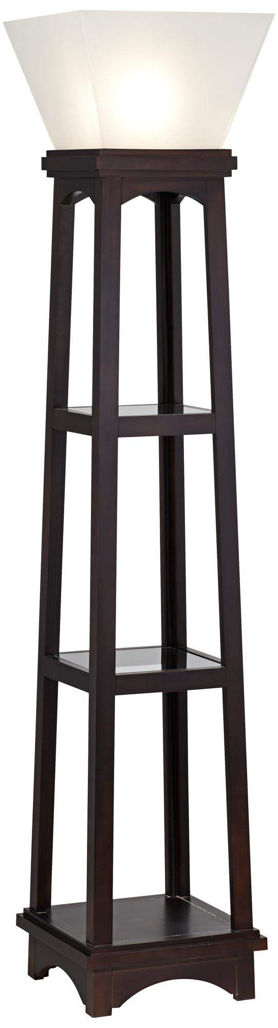 Monaco espresso 3 shelf etagere torchiere floor lamp for Floor lamp with shelves