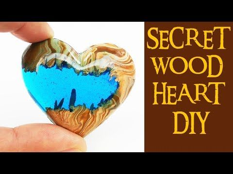 4 SECRET WOOD HEART DIY (no power tools) how to make epoxy resin heart polymer clay craft - YouTube