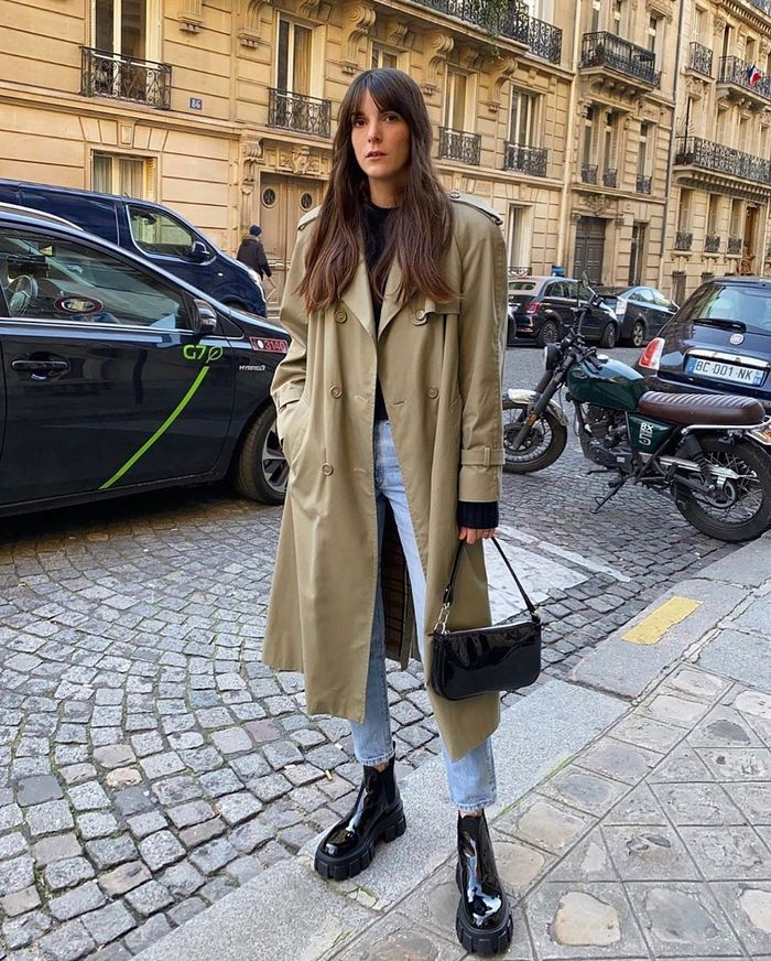 These 6 French Girl Boot Trends Got Over 77 000 Likes On Ig In 2020 Coat Street Style Trench Coat Street Style Chunky Black Boots