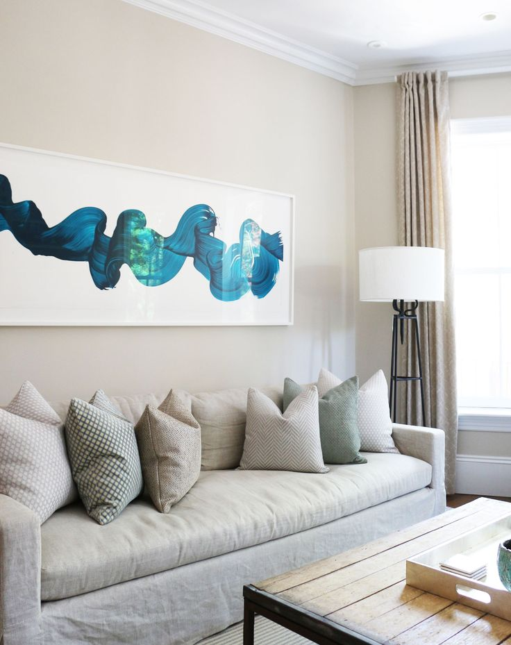 Neutral Pillows With A Few Soft Green Accents Are A Subtle Call Out To This  Eye Catching Wall Art In This Contemporary Living Room Designed By Victoria  ... Part 66