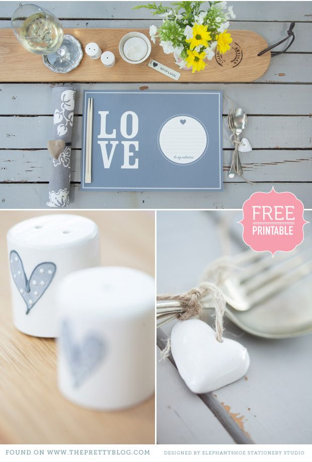 Printables: Love Placemat, Happeee Valentines day placemat, polka dot heart for decoration