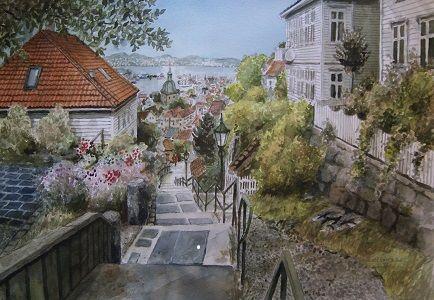 Kunstneren i Bergen: Akvarell av Skivebakken i Bergen