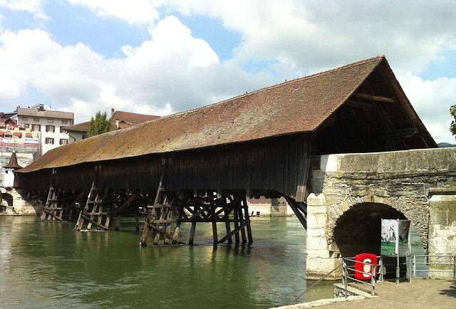 olten, switzerland, bridge, covered, river