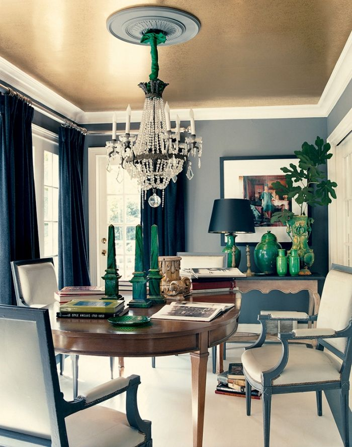 Dark Gray Walls Navy Draperies Gold Ceiling And Emerald Green Accents I Hate The Actual Stuff In This Room But Color Palette Is Fablike