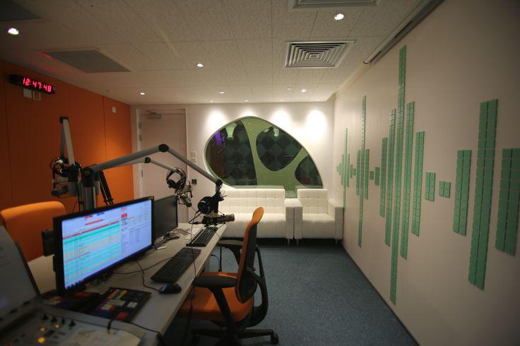 Phoenix TV in Tai Po, Hong Kong by Liquid Interiors - digital audio broadcasting department, broadcasting studio, equalizers concept, modern, cone lighting
