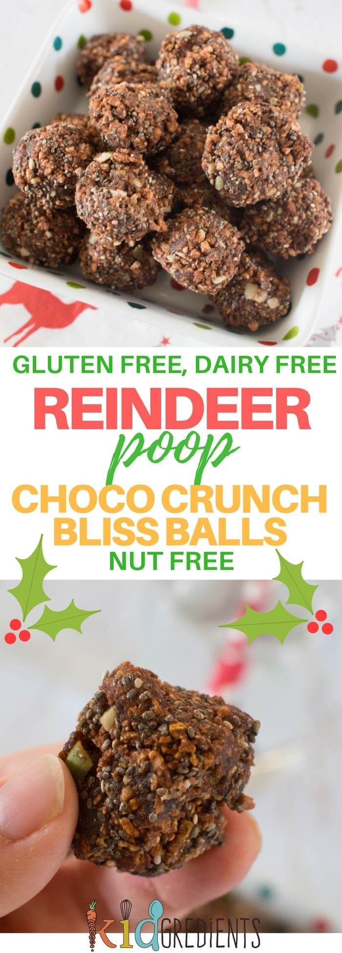 Reindeer poop- choco crunch bliss balls, crunchy, yummy, gluten free, dairy free and without desiccated coconut! Perfect for the lunch box and easy to make! #kidsfood #glutenfree #dairyfree #vegan #lunchbox #christmastreat #chocolate #healthykids  via @kidgredients