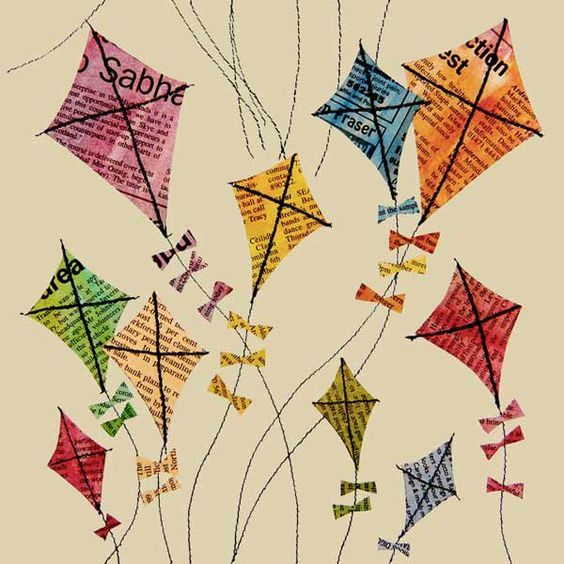 Kites - coloured newprint and sewn strings