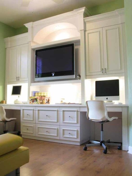 Awesome 2 Person Desk for Home Office Ideas : Cool Contemporary White 2 Person Desk For Home Office Made By Wooden With Light Green Wall Color Laminate Floor Modern White Office Chair Huge LED TV