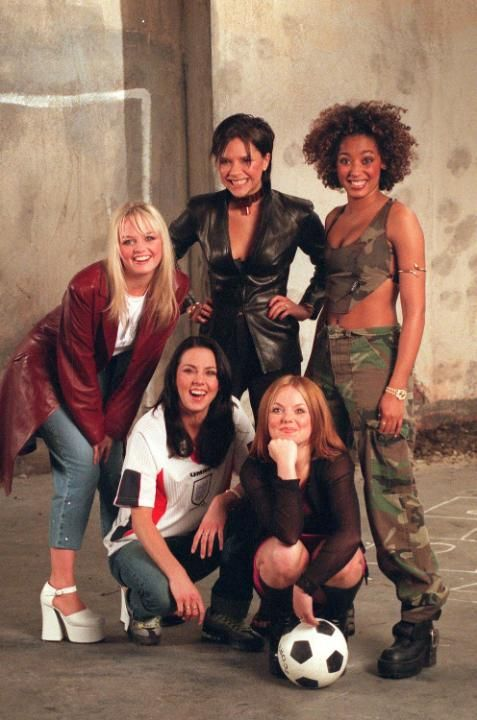 The Spice Girls Films Euro 96 Video (L to R): Emma Bunton, Melanie Chisholm, Victoria Adams, Geri Halliwell and Melanie Brown from The Spice Girls film the Euro 96 theme song video. (Photo by Dave Hogan/Getty Images)
