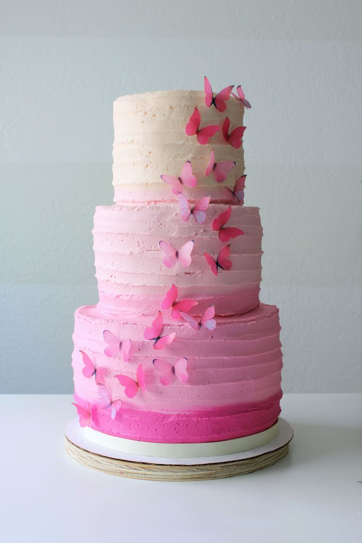 buttercream ombre wedding cake | The flavors of this cake was pink velvet (gradients of pink inside ...