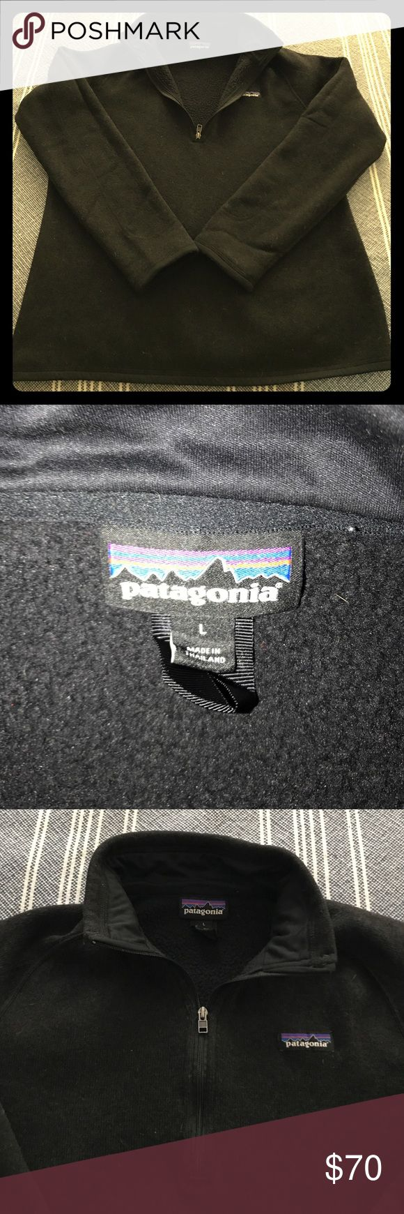 ⭐️PATAGONIA LARGE black half zip pullover⭐️ Patagonia 'better sweater' black half zip pull over size LARGE for sale. This is a little off black I would say but so so cute and WARM! I purchased from Nordstrom two months ago but want a different color. This pullover is in great condition and gently used. Ask any questions you want! PLEASE be aware price is firm and any low offers will not be addressed. Thank you! 😃😃 Patagonia Tops Sweatshirts & Hoodies