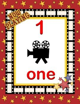 Hollywood Theme Classroom | Number line 0-20 Hollywood movie popcorn theme