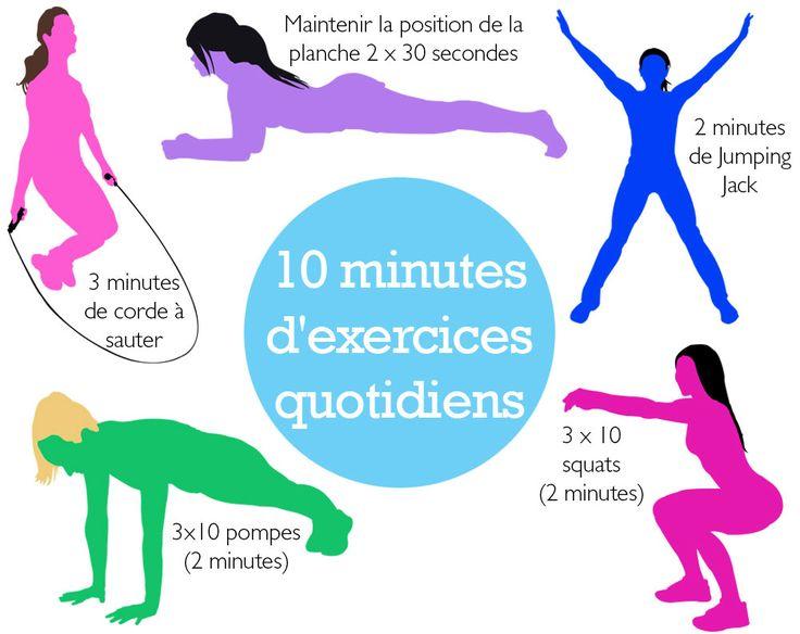 Beaucoup d'entre nous n'ont pas le temps d'aller à la gym à la fin de la journée. Voici 10 minutes d'exercices à faire quotidiennement à la maison. Vous n'avez plus d'excuses!
