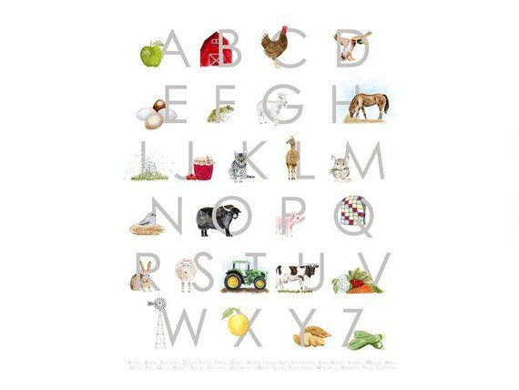 Farm Alphabet Nursery Print Farm Abc Wall Art Farm Alphabet Poster Farmhouse Decor Farm Alphabet On The Farm Wall Decor In 2021 Alphabet Nursery Alphabet Prints Nursery Farm Animal Alphabet