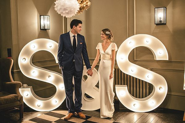 Giant light up letters/wedding decor by @Vowed & Amazed! Stuart & Caroline // Vowed & Amazed.  Photographed by Giant light up letters wedding decor by Kat Hill http://www.kat-hill.com/