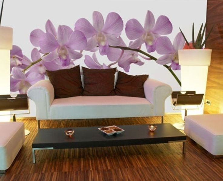 murals for walls orchid wall murals for modern wall. Black Bedroom Furniture Sets. Home Design Ideas
